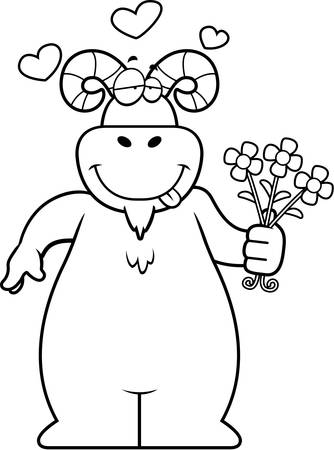 A happy cartoon ram with a bouquet of flowers.