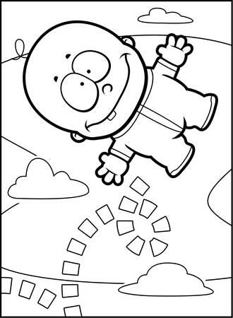 cartoon baby boy: A happy cartoon baby boy bouncing in the air.