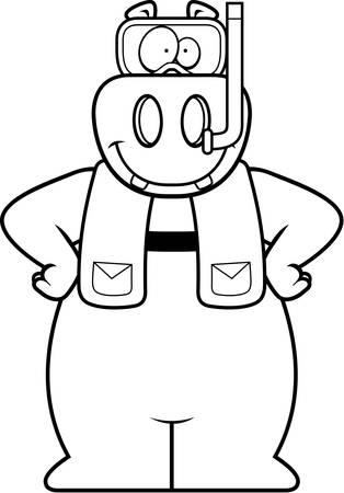 シュノーケ リング用具を身に着けているカバの漫画イラスト。