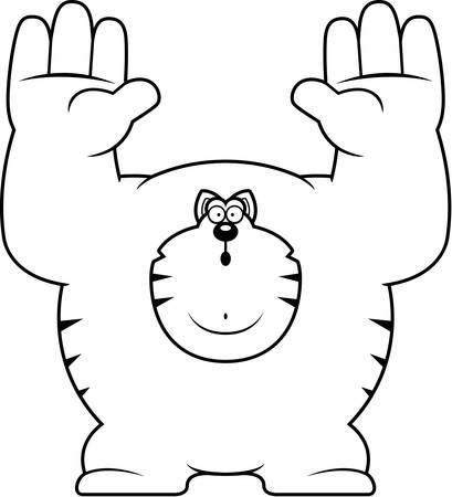 surrendering: A cartoon illustration of a cat surrendering. Illustration