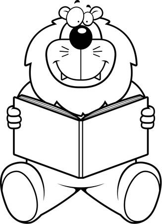 A cartoon lion reading a book and smiling.