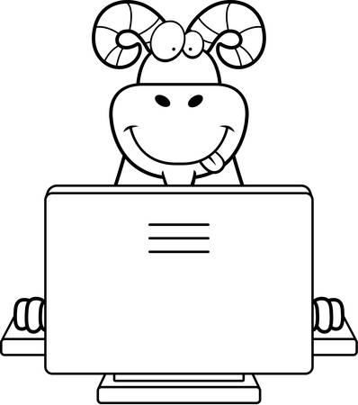 A happy cartoon ram with a computer.