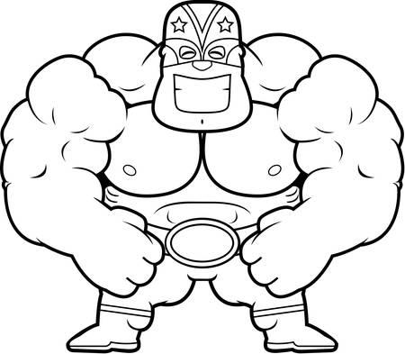 tough man: A cartoon illustration of a luchador flexing.