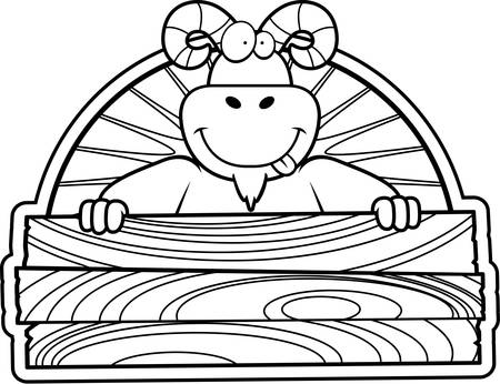 A happy cartoon ram with a wooden sign.