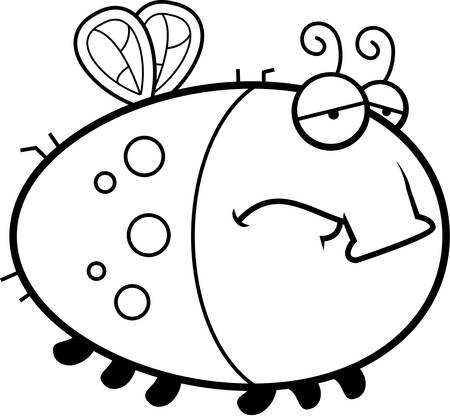 scowl: A cartoon illustration of a fly with a sad expression.