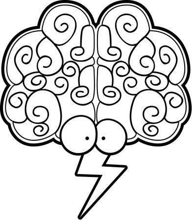 A cartoon brain with eyes and a lightning bolt.
