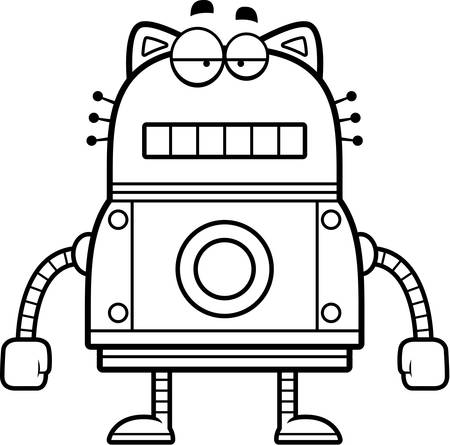 unemotional: A cartoon illustration of a robot cat with an unemotional expression. Illustration