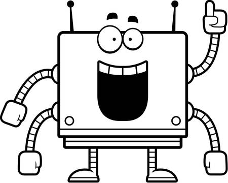 A cartoon illustration of a square robot with an idea.