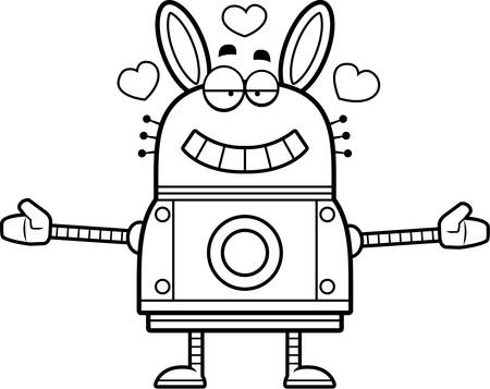 infatuated: A cartoon illustration of a robot rabbit ready to give a hug. Illustration