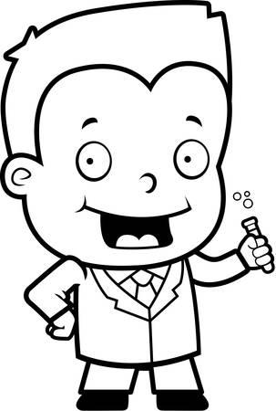 A happy cartoon boy scientist with a test tube.  イラスト・ベクター素材