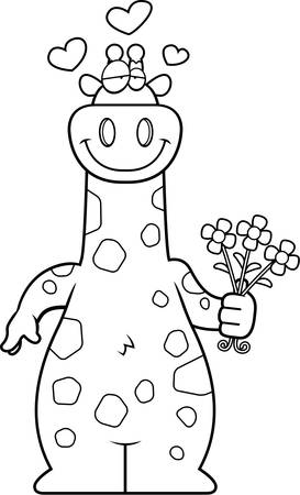 crushing: A cartoon illustration of a giraffe with flowers. Illustration