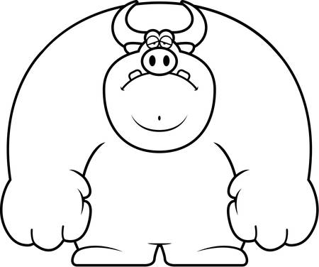 A cartoon illustration of a bull looking sad. Stock Illustratie