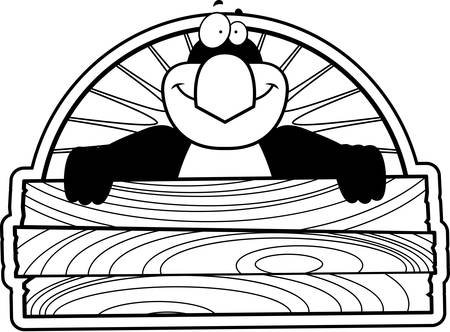 A cartoon illustration of a penguin with a wooden a sign.