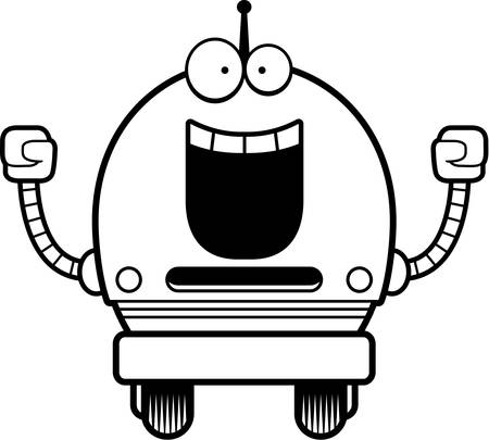 A cartoon illustration of a male blue robot celebrating success. Иллюстрация