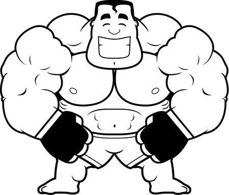 flexing: A cartoon illustration of a mma fighter flexing.