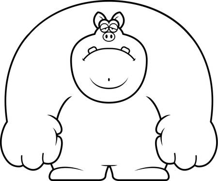 A cartoon illustration of a pig looking sad. Stock Illustratie