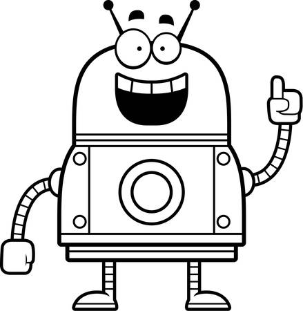smirking: A cartoon illustration of a red robot with an idea. Illustration