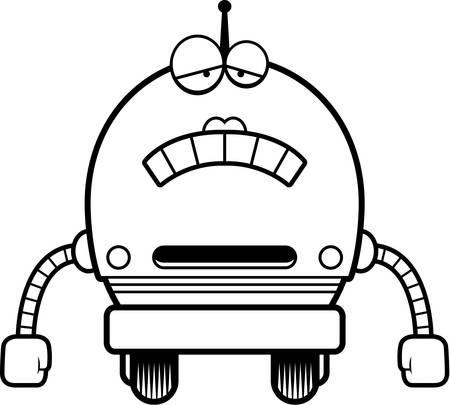 scowl: A cartoon illustration of a female pink robot looking sad.