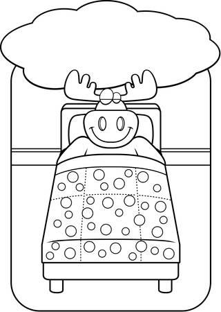 A cartoon moose in bed dreaming and smiling. Ilustração