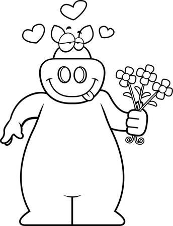 A happy cartoon pig with a bouquet of flowers.
