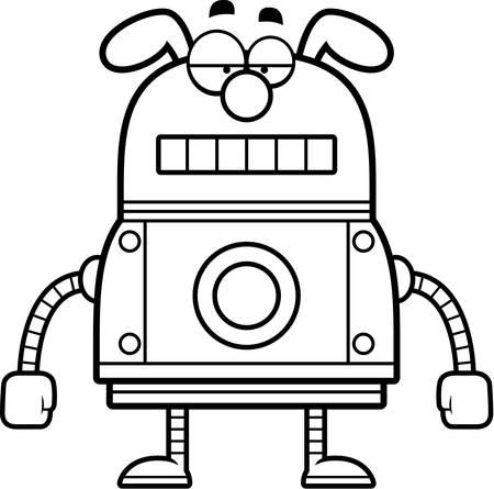 冷静な表情でロボット犬の漫画イラスト。  イラスト・ベクター素材