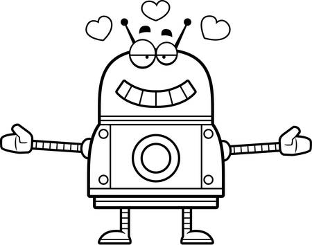 infatuated: A cartoon illustration of a red robot ready to give a hug.