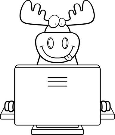 A happy cartoon moose with a computer.