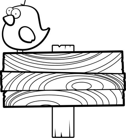 wooden post: A cartoon bird on top of a sign. Illustration