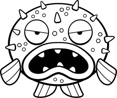 A cartoon blowfish with an angry expression. Illusztráció