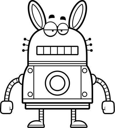unemotional: A cartoon illustration of a robot rabbit with an unemotional expression.