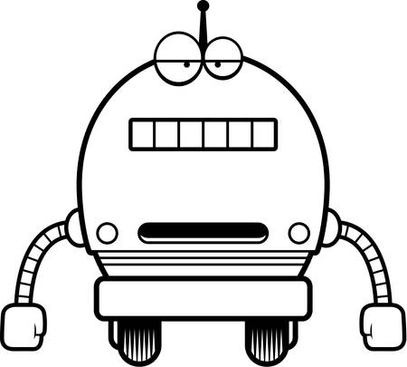 unemotional: A cartoon illustration of a male blue robot with an unemotional expression.