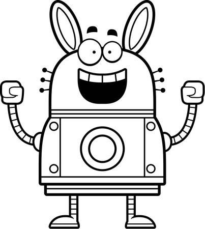 A cartoon illustration of a robot rabbit celebrating success. Иллюстрация