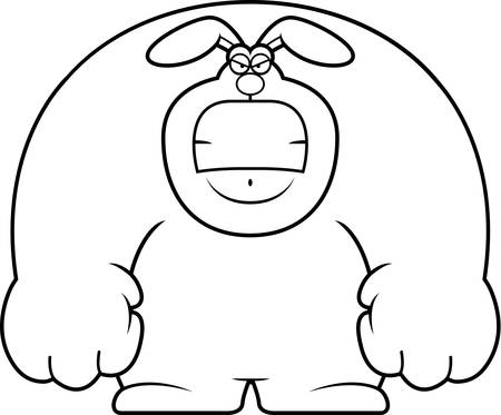 A cartoon illustration of a rabbit looking angry.