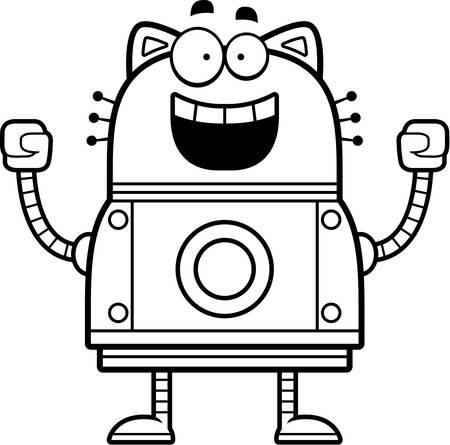 A cartoon illustration of a robot cat celebrating success.