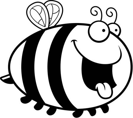 A cartoon illustration of a bee looking hungry. Ilustração