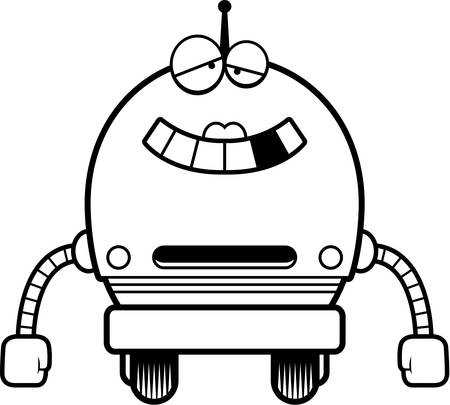 female pink: A cartoon illustration of a malfunctioning female pink robot.