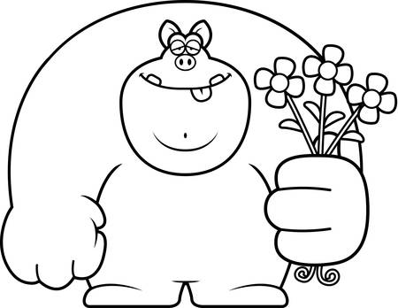 romance: A cartoon illustration of a pig with flowers.