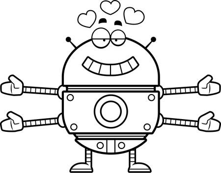 infatuated: A cartoon illustration of a gold robot ready to give a hug.