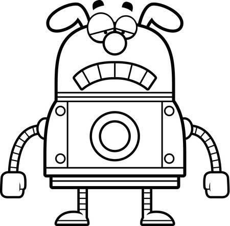 sad dog: A cartoon illustration of a robot dog looking sad.