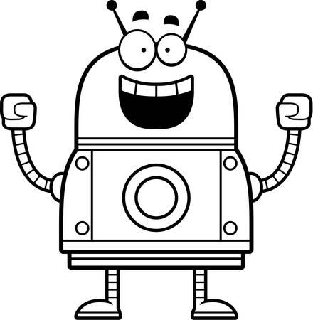 A cartoon illustration of a red robot celebrating success.