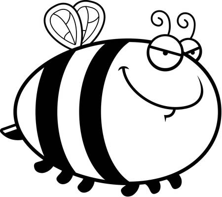 A cartoon illustration of a bee with a sly expression.