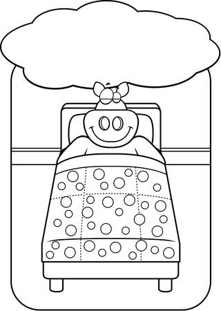 dreaming: A cartoon pig in bed dreaming and smiling. Illustration