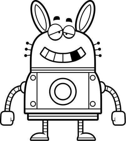 intoxicated: A cartoon illustration of a malfunctioning robot rabbit. Illustration