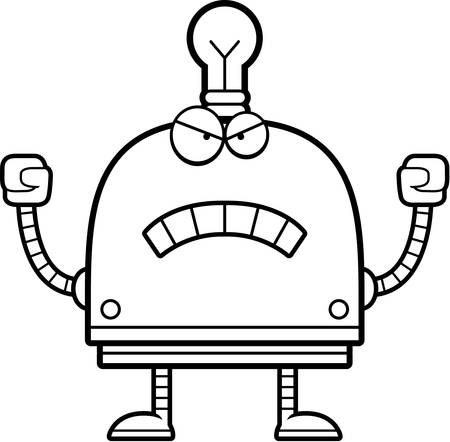 A cartoon illustration of a little robot looking angry.