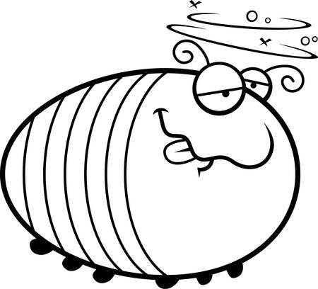 grub: A cartoon illustration of a grub looking drunk.