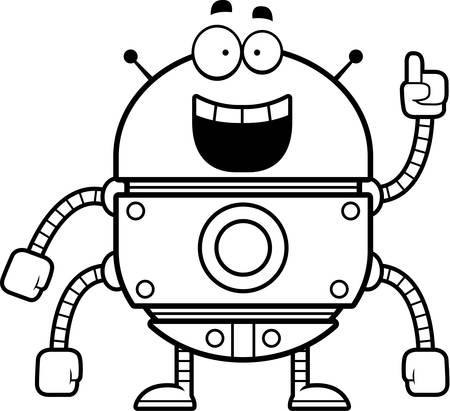 talking robot: A cartoon illustration of a gold robot with an idea.