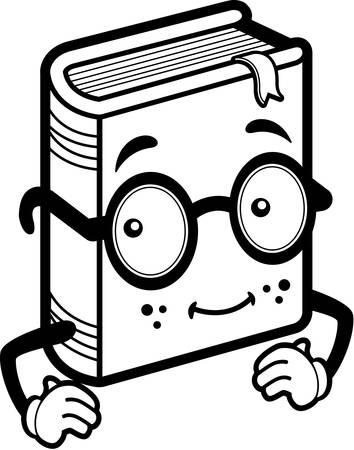 A happy cartoon blue book wearing glasses. Ilustracja
