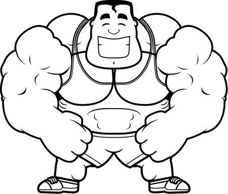 personal trainer: A cartoon illustration of a personal trainer flexing.