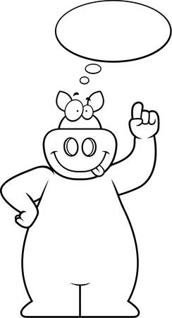 A happy cartoon pig thinking and smiling. Çizim