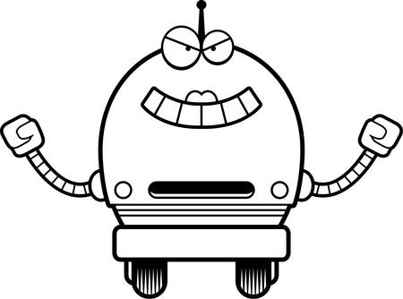 female pink: A cartoon illustration of an evil looking female pink robot.